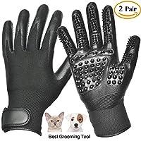 ペットグルーミング手袋-左右-強化された5つの指のデザイン-猫のため、犬の馬-ロングショートファー-優しい脱-ブラシ-あなたのペットはそれを愛する,D