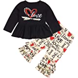 Toddler Little Girls Clothes Love Printed Tops Ruffle Pant Leggings Set Outfits for Girl 1-6T
