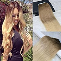 HairDancing 50cm Tape in Hair Extensions Human Hair Balayage Ombre Pastel Hair Dye Color #6B Fading to #24 Gold Blonde Tape Hair Extentions Ombre 50g 20Pcs Per Package