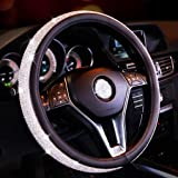 MLOVESIE Leather Steering Wheel Cover with Crystal Bling Bling Rhinestones for Girls,Lady Universal Fit 38cm Black