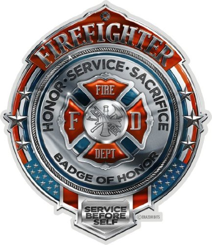 Collectible Firefighter Decals (4in,2pack), Share Your Support with Our Fire Honor Service Sacrifice Chrome Badge Stickers for Your Home, Car, Cases and More, Souvenir Gifts for Firefighter