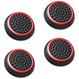 Fosmon Silicone Thumb Stick Analog Controller Grip Caps (4 Pack/2 Pairs) for Xbox 360, PS4, PS3, Wii U/Wii Nunchuk (Black/Red