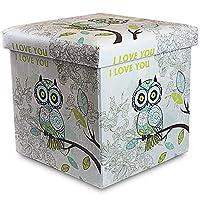 Stuff and Sit Storage Ottoman For Kids Toys Stuffed Animal By Rland Folding Storage Ottoman Large size 15x15x14 (Owl white) [Floral] [並行輸入品]