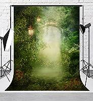 グリーン写真ドリーミーBackdrops Fairytale写真背景5x 7ftレッド花Forest Backdropフォトブース