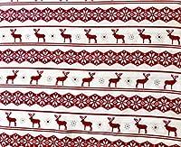 アスペン& Pine寝具4Pieceマイクロファイバークイーンサイズシートセット北欧スカンジナビア幾何パターン雪片鹿レッドグレーホワイト