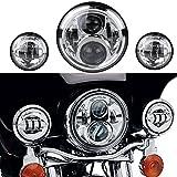 OVOTOR ハロウィンデビッドソンオートバイライトセット クローム50W7インチLEDヘッドライト&4.5インチLEDフォグランプ