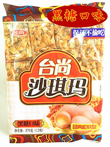 新商品【台尚沙琪瑪 黒糖口味】中華菓子台尚沙琪瑪(サチマ)揚げ菓子 270g お土産定番 人気商品 1袋(12枚入り)