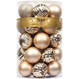 (6cm , Champagne) - KI Store 24ct Christmas Ball Ornaments Shatterproof Christmas Decorations Tree Balls Pastel for Holiday W