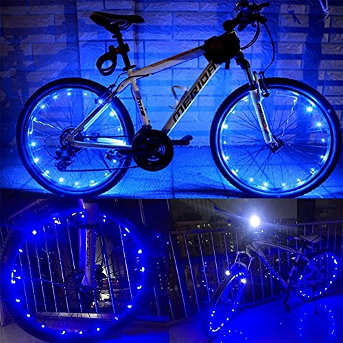 省略するアンテナ治療WELSUN 青い自転車ホイールライト防水バイクライトの長さ2m 20夜間サイクリングスポークアクセサリーのための安全なランプを導いた