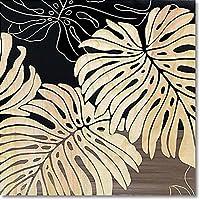 ハンドカービング&ハンドブラッシュのコラボレーションアート。 ユーパワー Wood Sculpture Art ウッド スカルプチャー アート ワイルド モンステラS (BK+NP) SA-08552 [簡易パッケージ品]