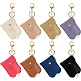 8 Pieces Leather Travel Bottle Keychain Holder Set- 8 Colors Leather Key Chain Holder with 8 Pieces 30ml Clear Refillable Fli