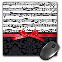 3drose LLC 8x 8x 0.25インチマウスパッド、ブラックとホワイトMusical Notes with 2dレッドリボンBowグラフィックピアノシート音楽音楽家ギフト(MP 120275_ 1)