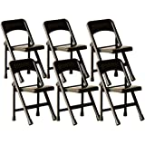 Black Plastic Toy Folding Chairs for WWE Wrestling Action Figures (Set of 6)