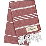 Bersuse 100% Cotton - Anatolia Hand Turkish Towel - Head Hair Face Baby Care Kitchen - 22X35 Inches, Burgundy