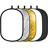 """Neewer Portable 5 in 1 59""""x79""""/150x200cm Translucent, Silver, Gold, White, and Black Collapsible Round Multi Disc Light Refle"""
