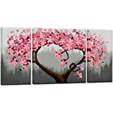 Sechars - Canvas Art Prints 3 Piece Pink Flower Paintings for Wall Modern Home Living Room Decoration Floral Pictures Wall De