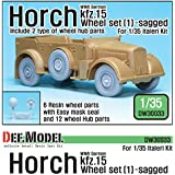 WW2 独 ホルヒ kfz.15 ホイールセット1 (イタレリ用)[DW30033] WWII Kfz.15 Horch Wheel set(1)-Sagged include 2 type of wheel hub parts For Italeri Kit
