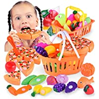 inverlee Kids Pretend Role PlayキッチンFruit Vegetable Food SetおもちゃGreat Gift for Kids マルチカラー IN