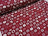福福にゃんこ レッド赤 ドビー生地  |綿|コットン|キヤット|ねこ|猫|アニマル|動物|かわいい|布|
