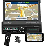 """Single Din Car Stereo Navigation Car Radio 7"""" Motorized Touch Screen Bluetooth Head Unit Support GPS/FM Radio/AUX-in/USB/SD/A"""