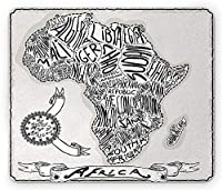 手書きの文字アートプリントココナッツと黒のマウスパッドでアフリカ地図のスケッチ図