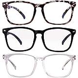 Laurinny Blue Light Blocking Glasses,Anti Eyestrain Nerd Eyeglasses Frame (3 Pack(C1+C3+C4))