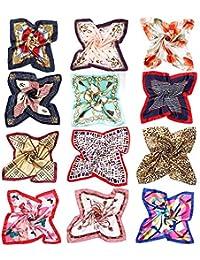 スカーフ レディース シルク 髪飾り バッグ飾り 持ち手 小物 アクセサリー 通勤 パーティー用 12枚セット 服に組み合わせ易い