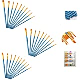 AOOK 10 Pieces Paint Brush Set Professional Paint Brushes Artist for Watercolor Oil Acrylic Painting 3-Pack