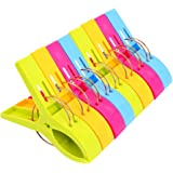 Danmu Colorful Beach Towel Clips, Beach Clips, Towel Clips for Beach Chair, Blankets, Pool Loungers, Cruise (8 Pack) - Keep Y