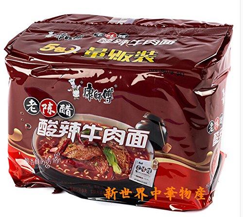 康師傅老陳醋酸辣牛肉面 方便面 中華インスタントラーメン 辛口焼き牛肉入り 111g×5セット中国食品