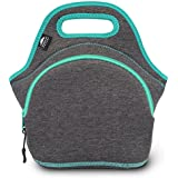 Lunch Bags for Women & Lunch Boxes for Kids   Nordic By Nature Premium Insulated Lunch Box Extra Thick Neoprene, Soft Cotton Feel, Premium Stitching, Outside Pocket, Washable (M) Dark Grey/Lagoon
