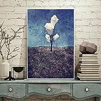 Fancuistore エントランス装飾ガーデン寝室シンプルモダン垂直バージョン通路フレスコ画リビングルームレストラン塗装済み完成品図面薄い絵画3白い雲 (Color : 白, サイズ : 60*80cm)