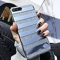 haisky 明るいパウダーの電話ケースミラー反射のストライプ星のパターンのバックカバーiphone 6 6 7 S 38plus iPhone 6S 銀
