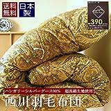 西川 羽毛布団 シングル ハンガリーシルバーグース90% 超長綿 使用