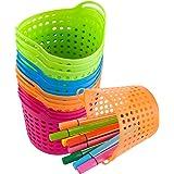 12 Pcs Pencil Basket Trays- Round Pencil Marker Crayon Holder Colorful Storage Trays Desk Organizer Baskets Classroom Contain