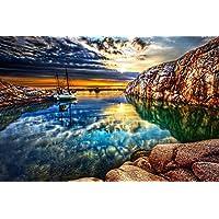ロッキーオーシャンショアビーチ - #40443 - キャンバス印刷アートポスター 写真 部屋インテリア絵画 ポスター 50cmx33cm