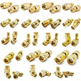 ALLiSHOP SMA Connectors kit 18 Type SMA RP-SMA Adapter Plug and Jack Straight and 90° SMA Connector Goldplated Brass RF Coax