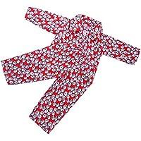 Lovoski かわいい 人形用 パジャマ トップとズボン セット 18インチ アメリカンガールドール対応 装飾 全2色 - レッド