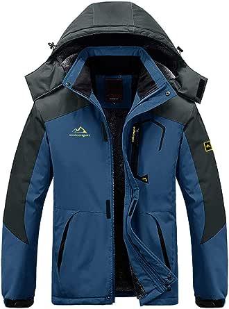 Wohthops スキージャケット メンズ 裏フリース 裏起毛 防寒コート フリースジャケット アウトドア ジャケット 防寒 撥水 登山 キャンプ アノラック 釣り ウインドブレーカー フード付き