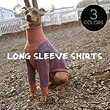 ボーダーロングスリーブシャツ #2 イタリアングレーハウンド服 イタグレ服 犬服 Tシャツ (ブラウン×ネイビー, M)