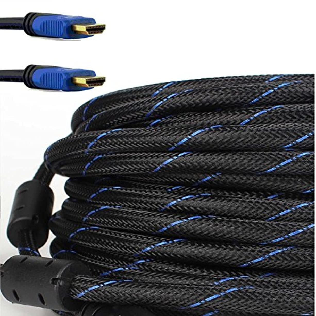 変換速度とティームcablevantage HDMIケーブル25フィート、v1 . 4超速度サポートイーサネットオーディオリターン(Arc 3d HD 1080p)、帯域幅最大18 Gbps、準備、25 ft編組ナイロンケーブルコードゴールドメッキブルー
