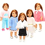 Barwa 5 Winter Clothes Dresses for 16-18 Inch American Girl Dolls and Other Dolls