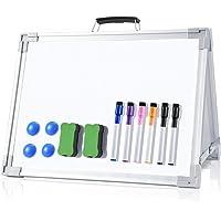 Ohuhu ホワイトボード スタンド付き マグネット式ホワイトボード 12x16インチ 小型両面デスクトップホワイトボー…
