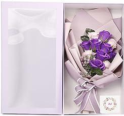 REEMONDE ソープフラワー バラ 造花 枯れない花 石鹸花束 ギフト 半透明ボックス メッセージカード付き インテリア バレンタインデー クリスマス 母の日 誕生日 祝い 昇進 転居 記念日