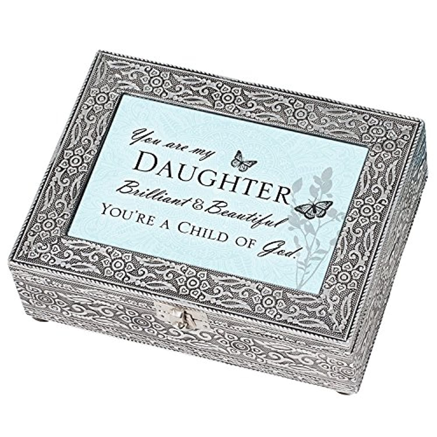 Daughter Beautiful Child of God Silver Stamped Metal Jewellery Music Box Plays Tune Amazing Grace