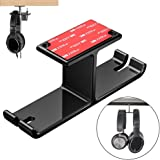 Tongke Headphone Stand Hanger, Aluminum Stick-On Adhesive Under Desk Dual Headset Holder Mount Hook with Cable Organizer Hang