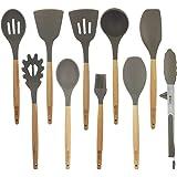 BGT Cooking Utensil Sets,10 Pcs Silicone Kitchen Cooking Utensils Sets, Wooden Handles Kitchen Gadgets Utensils Set for Nonst