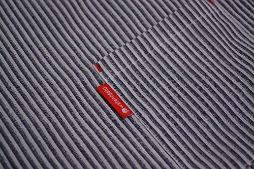 日本製 綿の郷 ヒッコリー柄ちぢみ織カジュアル甚平 じんべい 子供 男の子 (140サイズ, 灰縞)
