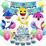 誕生日飾り付け サメ ベビーシャークパーティー飾り 海 カラフル 動物 可愛い 男の子 子供 happy birthday バナー アルミバルーン 風船 カップケーキトッパー 部屋 装飾