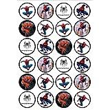 24 Spiderman スパイダーマン食用プレミアム厚物甘皮バニラ、ウェーハライス紙カップケーキトッピング/デコレーション